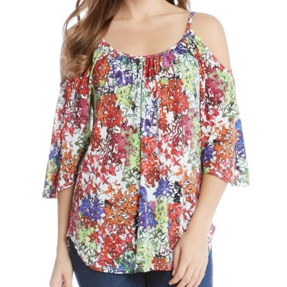 3c3641aab95dc KAREN KANE Cold Shoulder Floral Top Size Small NWT